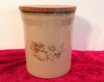 Denby Fine Stoneware Handcrafted Crock with Wooden Lid, English Pottery, Stoneware Container, Denby England, Housewares Decor, Storage Jar