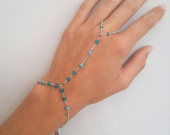 Hand chain with Turquoise, finger chain bracelet with turquoise beads layered bracelet by BurkeEwig simple bracelet