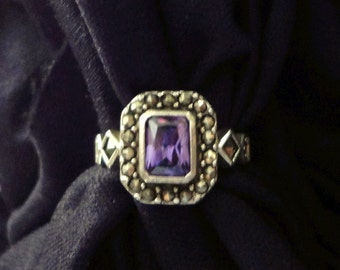 Silver and Amethyst Ring: Rectangular Stone in a Marcasite Setting, Small Size