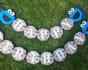 cookies monster birthday banner