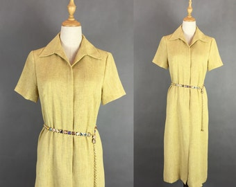 Clearance Sale / Vintage 1980s Yellow Dress / Day Dress / Summer Dress / Size Small Medium