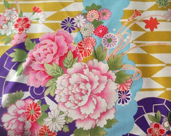Japanese tree peony. Chrysanthemum. Cherry blossom. Japanese fabric. Japanese cotton fabric. Fabric by half yard or half meter