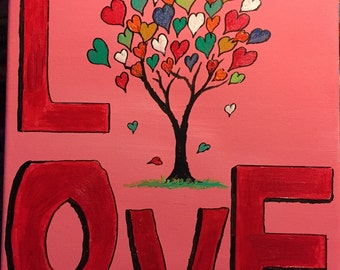 """Colorful and Inspirational """"Love"""" Painting on stretched canvas. 11"""" x 14"""" Original Acrylic"""