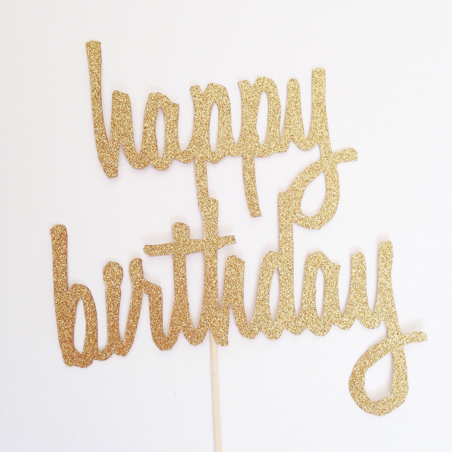 Gold Happy Birthday Topper Script Cake Topper Bday Cake