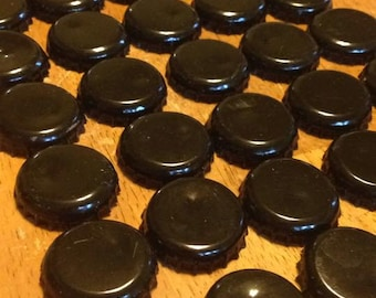 50 Black Bottle Caps