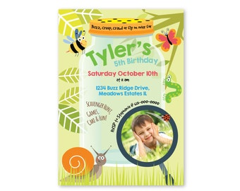Photo Invitation, BUG Party, Personalized Printable DIY, boy's bug party, custom photo