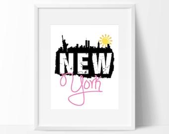 "New York Inspirational Print - 8"" x 10"" Nursery Print - New York City Print - Instant Download"