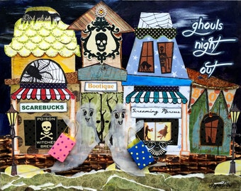 Halloween, Ghoul's Night Out, Shopping, Halloween stores - Mixed media canvas giclee mounted on 11 x 14 art panel