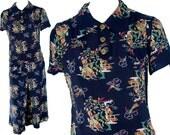 1940s Medium Skort Culottes Blouse Set Navy Blue Rayon Silk Asian Novelty Print Retro Pin Up WWII Lounge Polynesian South Pacific Resort