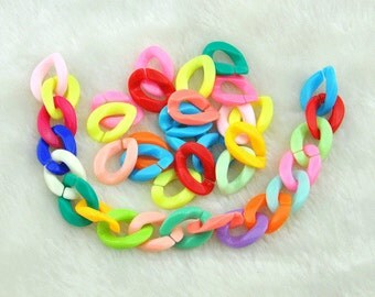 Acrylic Chain,17x23mm 100pcs Plastic Open Oval Individual Links For Acrylic Chains,15 Color Options-G1794