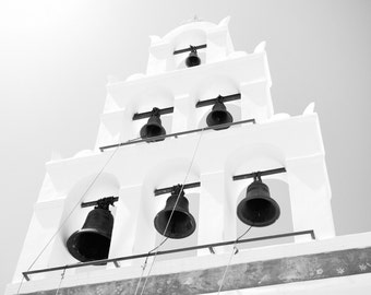 Greece Photography, Santorini Print, Greece Print, Santorini Photography, Greece Bells, Bell Photography, Travel Photography Black and White