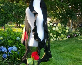 Nuno Felted Shawl in Black With Red Roses.  Extra Long Felted Shawl with Feminine Ruffles. Art to Wear.
