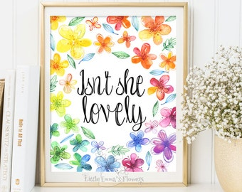 Printable art decor Nursery art wall Nursery decoration Isn't she lovely print nursery print quote art digital print quote print 3-45
