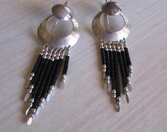 Sterling Silver Pierced  Earrings with Jet Dangles