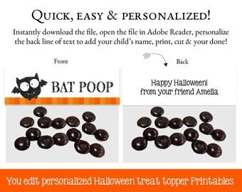 Halloween Goodie Bag Toppers, Goodie Bag Topper, Loot Bag Label, Halloween Printable, Halloween Treat Bag, EDIT YOURSELF PDF