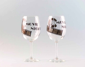 Hand Painted Wine Glasses - Painted Movie Night Wine Glasses - Set of Two