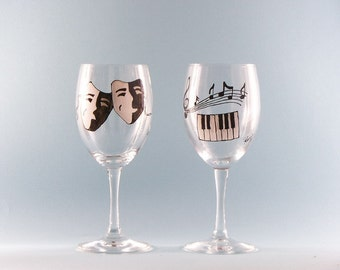 Hand Painted Music & Theater Wine Glasses - Hand Painted Wine Glasses - Music and Theater Set of Two