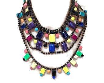 OH MY black and multicolored hand painted rhinestone statement bib necklace