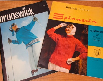 2 Vintage Mid-Century knitting pattern books sweaters women, men, kids Spinnerin Continental 1958 and Brunswick Crystals 1960