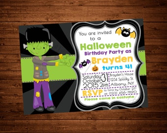 Cute Halloween Birthday Invitation (Many Characters Available!)
