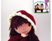 Amigurumi Doll, Handmade crochet doll, Removable Hat, Red, long brown hair