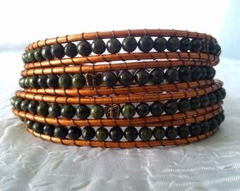 Leather Wrap Bracelet - Russian Serpentine with Copper Butterflies (Copper Leather Shown) - Gypsy Bracelet, Bohemian Jewelry
