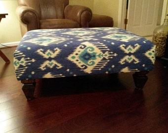 Upholstered Ottoman Coffee Table - Blue Ikat