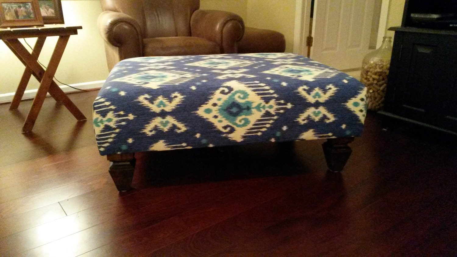 Upholstered Ottoman Coffee Table Blue Ikat