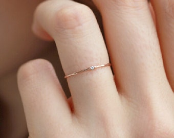 super thin 14K solid gold ring with tiny shinny cubic Zirconia, thin band, delicate ring, stacking ring, stackable ring, knuckle ring