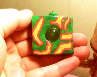 Rain Drop in Green, Red & Yellow Square Pendant, Psychedelic Pendant, Polymer Clay Pendant