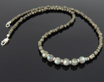 Men's Women Pyrite Labradorite Sterling Silver Necklace Gemstone 925 Spacers Clasp DiyNoion Handmade NK055