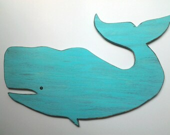 wooden whale wall art, distressed, nautical decor, beach cottage decor, nursey decor