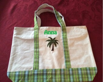 Monogrammed Palm Tree Embroidered Canvas Tote Beach Bag  Personalized