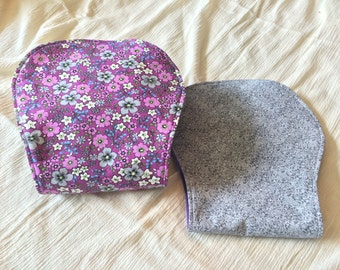 Purple and Gray Flower Print Burp Cloths | Set of 2