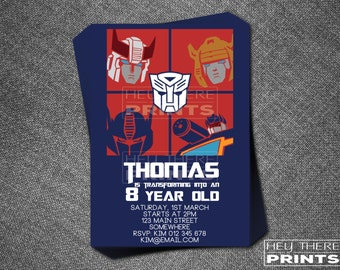 Transformers Invitations - Autobots - Optimus Prime - Bumblebee