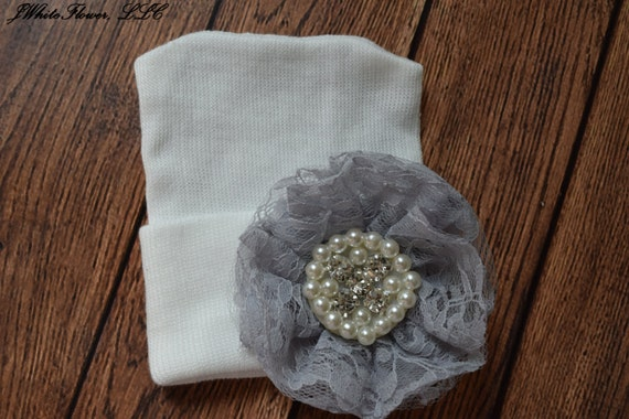 Newborn hospital hat with Grey lace flower, Baby hat,  newborn girl hat, infant girl hat, hospital newborn hat, newborn hat, infant hat