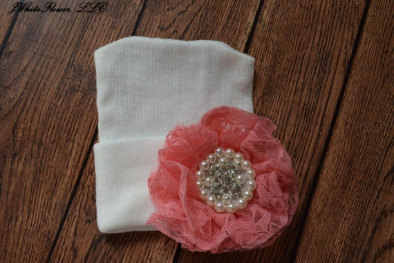 Newborn hospital hat with Coral lace flower, Baby hat,  newborn girl hat, infant hat, hospital newborn hat, newborn hat, infant hat