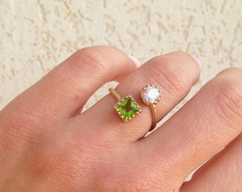 20% off- SALE! Dual Gemstone Ring - Two Birthstone Ring - Peridot Ring - Clear Quartz Ring - Gemstone Ring - Gold Ring - Stack Ring
