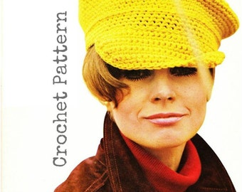 CROCHET HAT PATTERN Vintage 60s Crochet Captain Hat Pattern Instant Download