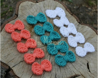 CROCHET BOW 4 Lot Crochet Bow Tie Crochet Bow Headband, Crochet Baby Bow, Crochet Bow Applique