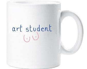 Art Student Mug Boobs Drawing Funny Novelty Rude Gift Ceramic Cup Breasts Boobies