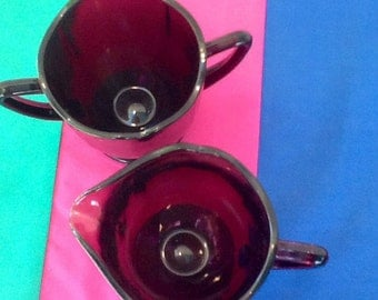 Purple Glass Creamer and Sugar Bowl. Beautiful Deep Purple Vintage Glass serving set. Collectible.