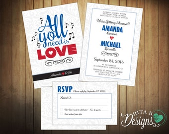 "Beatles ""All You Need Is Love"" Wedding Invitation & RSVP / Reply Card, Music Theme, DIY Printable, Custom Colours"