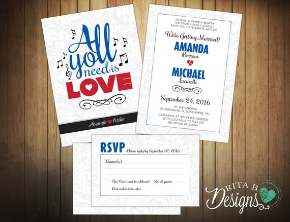All You Need Is Love Wedding Invitations: Beatles All You Need Is Love Wedding Invitation