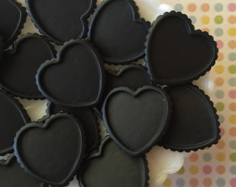 Cabochon Setting, Black Resin Cameo Frame, Heart Shaped Frame. Flatback Heart Cabochon ( 5 pieces ) Black Heart Cameo Frame