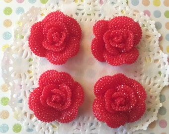 Red Rose Cabochons - 30mm Flower Cabochon Mix (4 pieces) Resin Flower Flat Back Cabochons