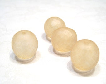 Czech Glass 16mm Facet Round - Frosted Lemon - Pack 5