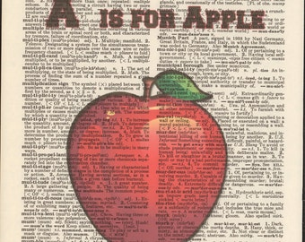 A Is For Apple Vintage Upcycled Book Page Dictionary Art Print Mixed Media