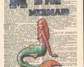 M is for Mermaid Vintage Upcycled Book Page Dictionary Art Print Mixed Media