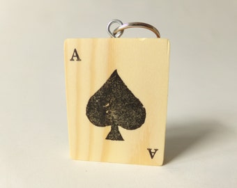 Ace Of Spades Playing Card Wooden Keyring Keychain